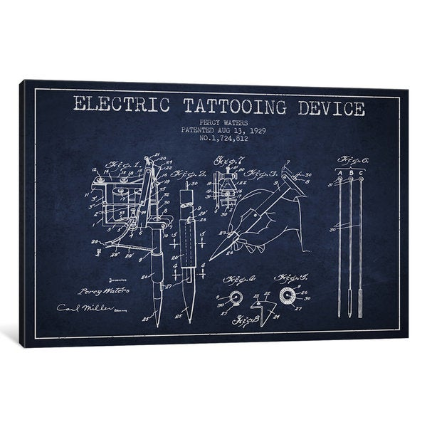 iCanvas Tattoo Device Navy Blue Patent Blueprint by Aged Pixel Canvas Print