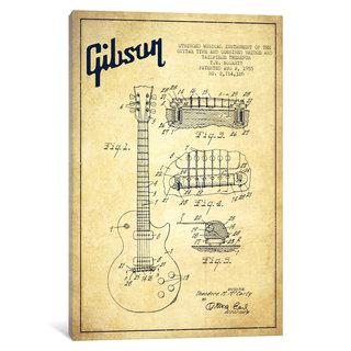 iCanvas Gibson Guitar Vintage Patent Blueprint by Aged Pixel Canvas Print
