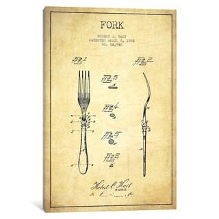 iCanvas Fork Vintage Patent Blueprint by Aged Pixel Canvas Print