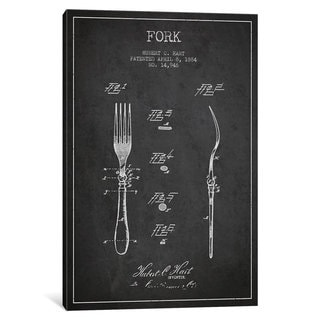 iCanvas Fork Charcoal Patent Blueprint by Aged Pixel Canvas Print