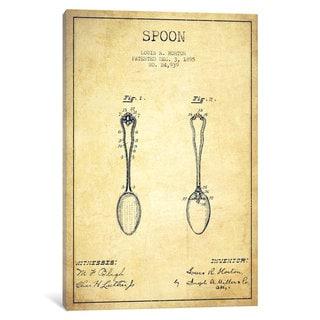 iCanvas Spoon Vintage Patent Blueprint by Aged Pixel Canvas Print