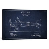 iCanvas Airplane Navy Blue Patent Blueprint by Aged Pixel Canvas Print