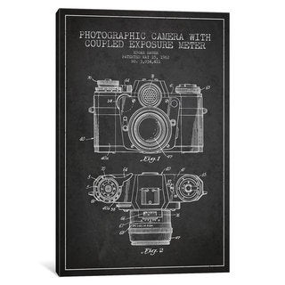 iCanvas Camera Charcoal Patent Blueprint by Aged Pixel Canvas Print
