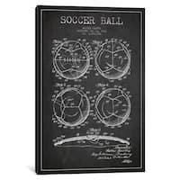 iCanvas Bartky Soccer Ball Charcoal Patent Blueprint by Aged Pixel Canvas Print