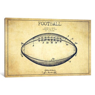 iCanvas Football Vintage Patent Blueprint by Aged Pixel Canvas Print
