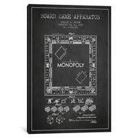 iCanvas Monopoly Charcoal Patent Blueprint by Aged Pixel Canvas Print