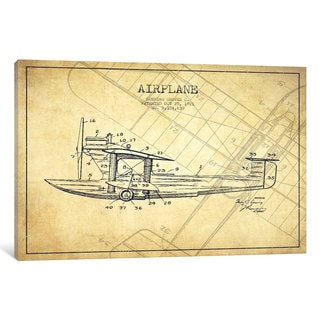 iCanvas Airplane Vintage Patent Blueprint by Aged Pixel Canvas Print