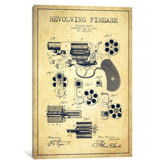 iCanvas Revolving Firearm Vintage Patent Blueprint by Aged Pixel Canvas Print