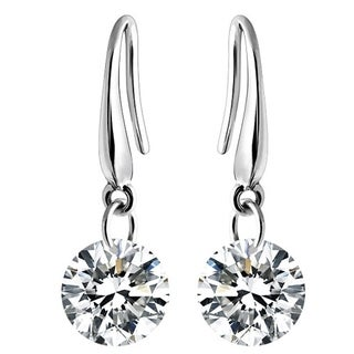 CUBIC ZIRCONIA DANGLING DRILL EARRINGS