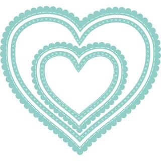 """Kaisercraft Decorative Die-Nest Scallop Stitch Hearts 2.25"""" To 4.25"""