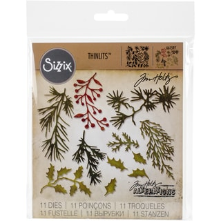Sizzix Thinlits Dies 11/Pkg By Tim Holtz-Mini Holiday Greens