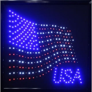 USA American Flag Framed Marquee LED Signs Man Cave Wall Decor