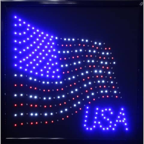 American Art Decor USA American Flag Framed Marquee LED Signs Man Cave Wall Decor