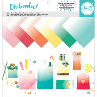 """We R Memory Keepers Glassine Paper Pack 12""""X12"""" 24/Pkg-Oh Goodie! Ombre, 6 Designs/4 Each"""