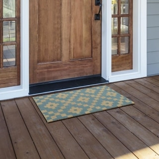 Cocoa Matting Blue Burst Tan Door Mat 16 X 24 Free