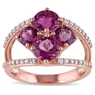 Miadora Signature Collection 14k Rose Gold Pink Tourmaline and 1/4ct TDW Diamond Split Shank Flower Ring