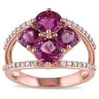 Miadora Signature Collection 14k Rose Gold Pink Tourmaline and 1/4ct TDW Diamond Split Shank Flower