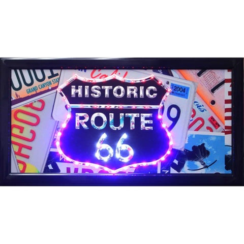 Historic Route 66 Framed Marquee LED Signs Man Cave Wall Decor