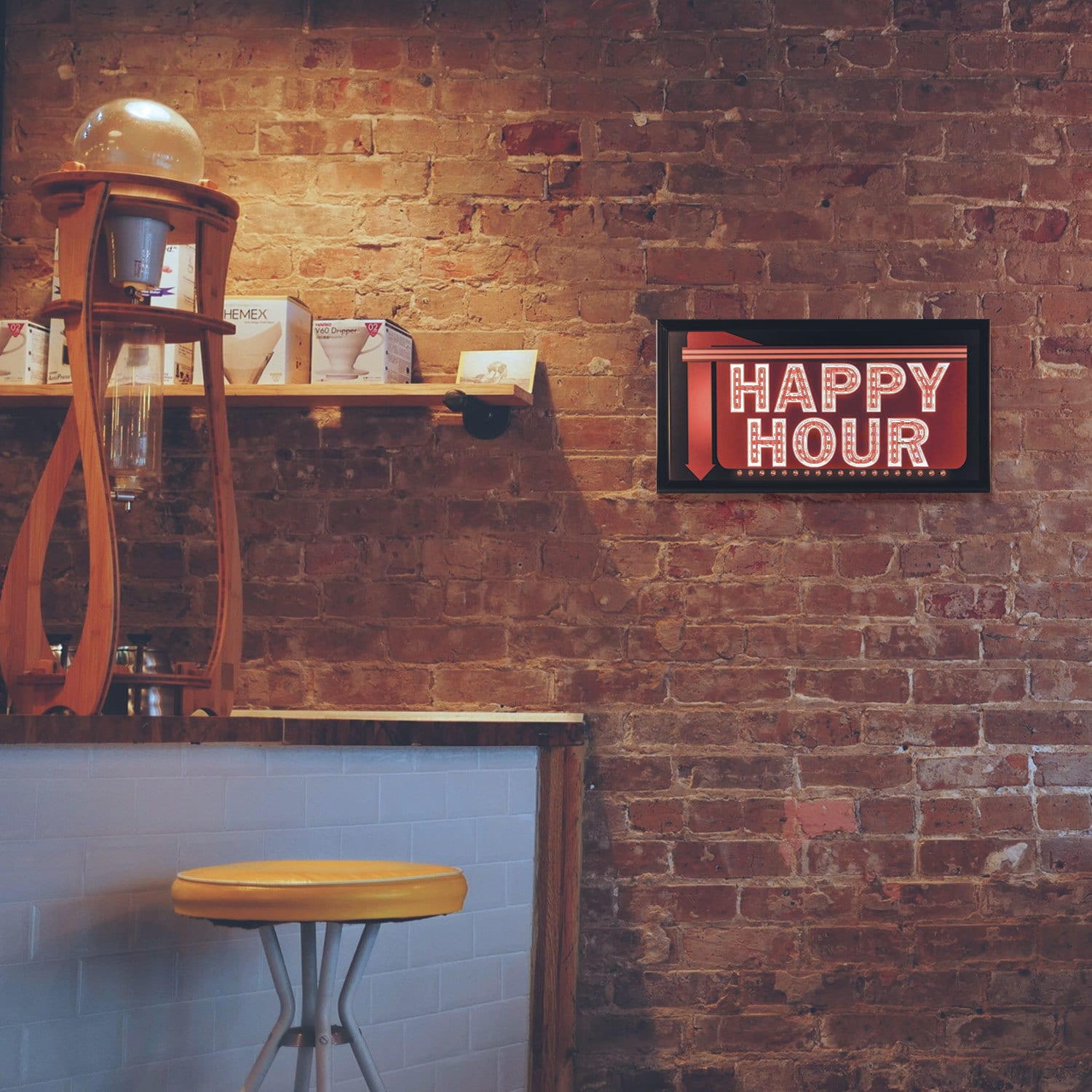 American Art Decor Happy Hour Down Arrow Framed Man Cave Marquee Led Signs Overstock 16069623
