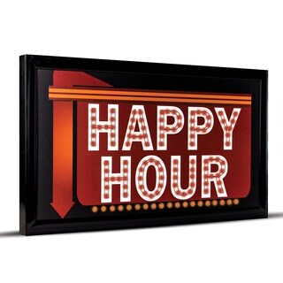 Happy Hour Down Arrow Framed Man Cave Marquee LED Signs