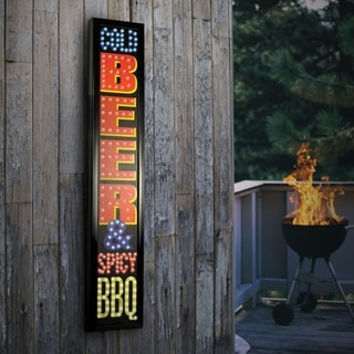 Cold Beer & Spicy BBQ Framed Marquee LED Signs Man Cave Wall Decor