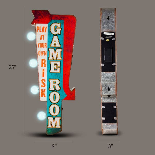 American Art Decor Play At Your Own Risk Game Room Vintage Led Signs Man Cave Wall Decor Overstock 16069632
