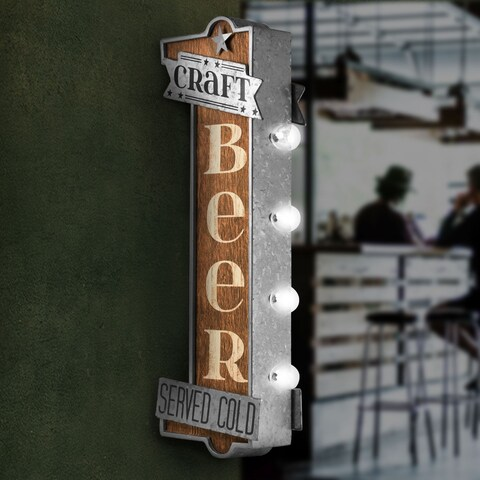 Craft Beer Metal Bar Vintage Marquee LED Sign Man Cave Wall Decor