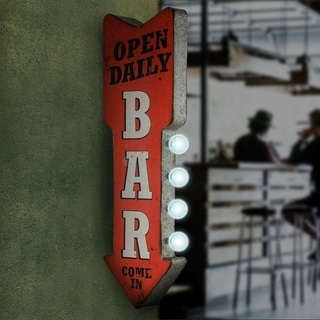 Open Daily Bar Metal Arrow Man Cave Marquee LED Signs