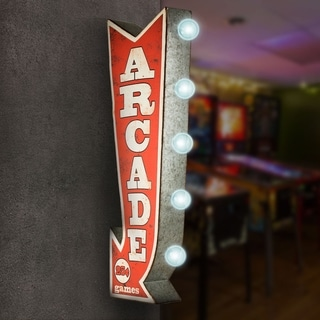 Arcade Games Metal Arrow Vintage Marquee Game Room Man Cave Bar Garage LED Signs