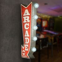 American Art Decor Arcade Games Metal Arrow Vintage Marquee Game Room Man Cave Bar Garage LED Signs