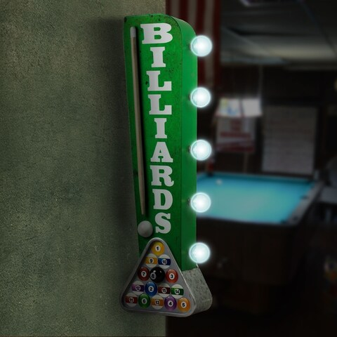 Billiards Pool Cue Vintage Marquee LED Sign Man Cave Wall Decor