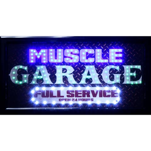 American Art Decor Muscle Garage Full Service Marquee Garage Man Cave Bar Game Room LED Signs