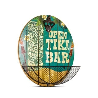 Bottle Opener with Cap Catcher 'Open Tiki Bar' Vintage Man Cave Wall Decor