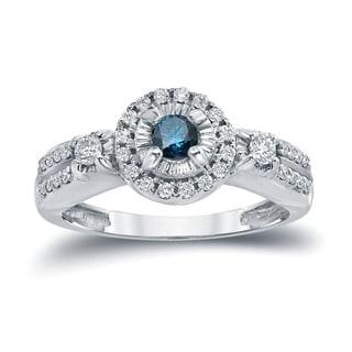 Auriya 14k Gold 2/5ct TDW Halo Blue and White Diamond Engagement Ring (Blue, I1-I2)