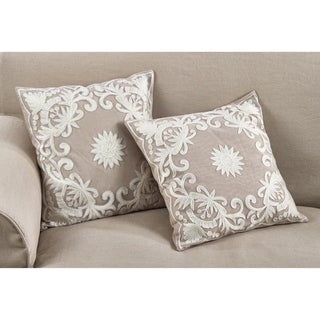 Embroidered Floral Design Beaded Cotton Poly Filled Throw Pillow