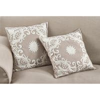 Embroidered Floral Design Cotton Poly Filled Throw Pillow
