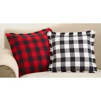 Fringed Buffalo Plaid Design Cotton Throw Pillow With Down Filling