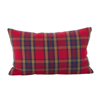 Classic Tartan Plaid Pattern Holiday Cotton Down Filled Throw Pillow