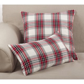 Tartan Plaid Pattern Traditional Cotton Down Filled Throw Pillow - Multi-color
