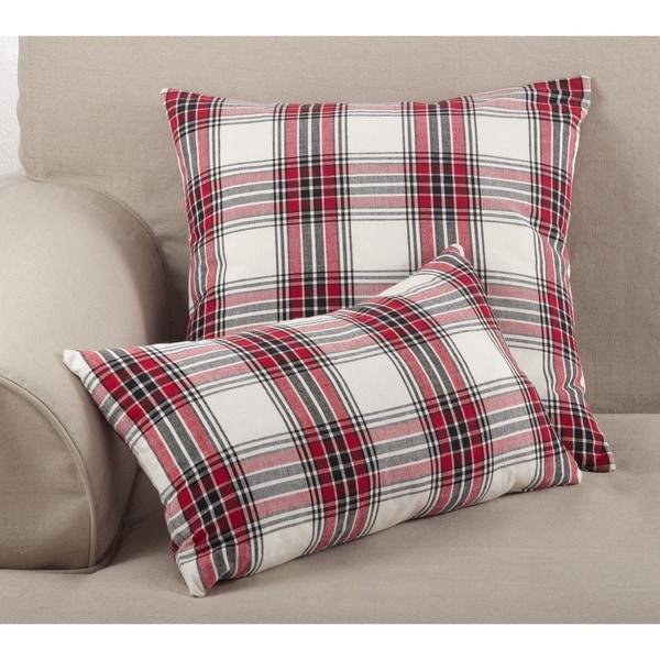 Tartan Plaid Pattern Traditional Cotton Down Filled Throw Pillow