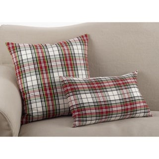 Classic Tartan Plaid Pattern Cotton Down Filled Throw Pillow