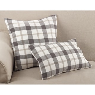 Classic Plaid Pattern Cotton Down Filled Throw Pillow