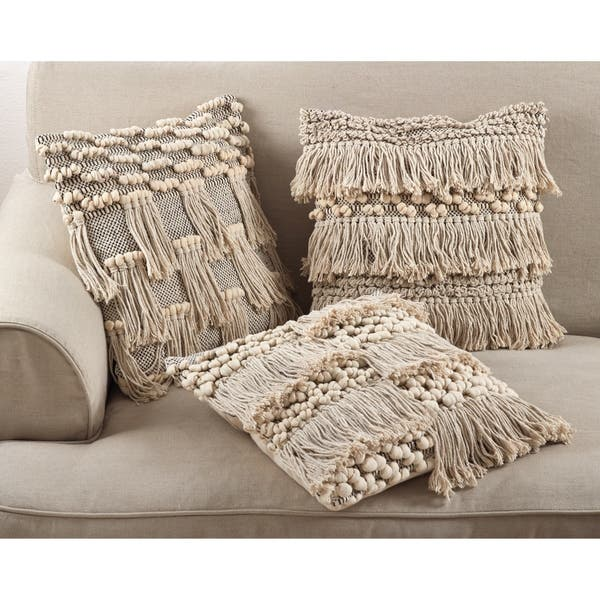 Moroccan Wedding Blanket Style Design Fringe Cotton Down Filled Throw Pillow Overstock 16069727