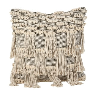 Moroccan Wedding Blanket Style Design Fringe Cotton Down Filled Throw Pillow