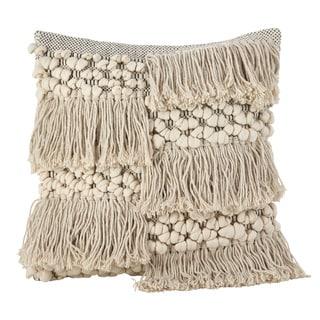 Moroccan Wedding Blanket Design Fringe Cotton Down Filled Throw Pillow