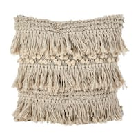 Moroccan Wedding Blanket Style Fringe Cotton Down Filled Throw Pillow