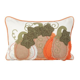 Patchwork Pumpkin Design Poly Filled Throw Pillow
