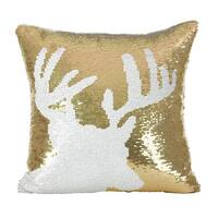 Sequin Reindeer Design Holiday Down Filled Throw Pillow