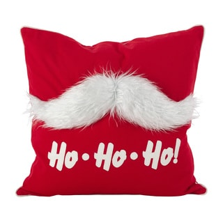 Faux Fur Mustache Santa Claus Cotton Poly Filled Throw Pillow
