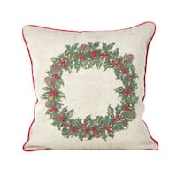 Holly Wreath Jingle Bell Christmas Poly Filled Throw Pillow